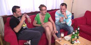 GRANDMA FRIENDS - Two guys enjoy fucking hot old women