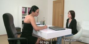 Strapon in lesbian pussy on casting
